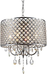 mirrea Crystal Chandelier Pendant Light, 4 Lights, with Crystal Beaded Drum Shade Chromed Finish