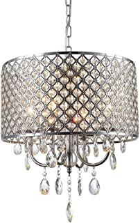 mirrea Crystal Chandelier Pendant Light, 4 Lights, with Crystal Beaded Drum Shade Chromed Finish