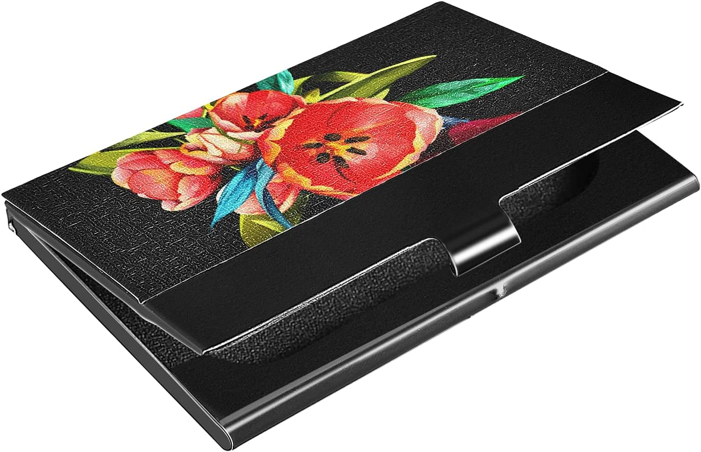 OTVEE Vintage Red Tulips Flowers Business Card Holder Wallet Stainless Steel & Leather Pocket Business Card Case Organizer Slim Name Card ID Card Holders Credit Card Wallet Carrier Purse for Women Men