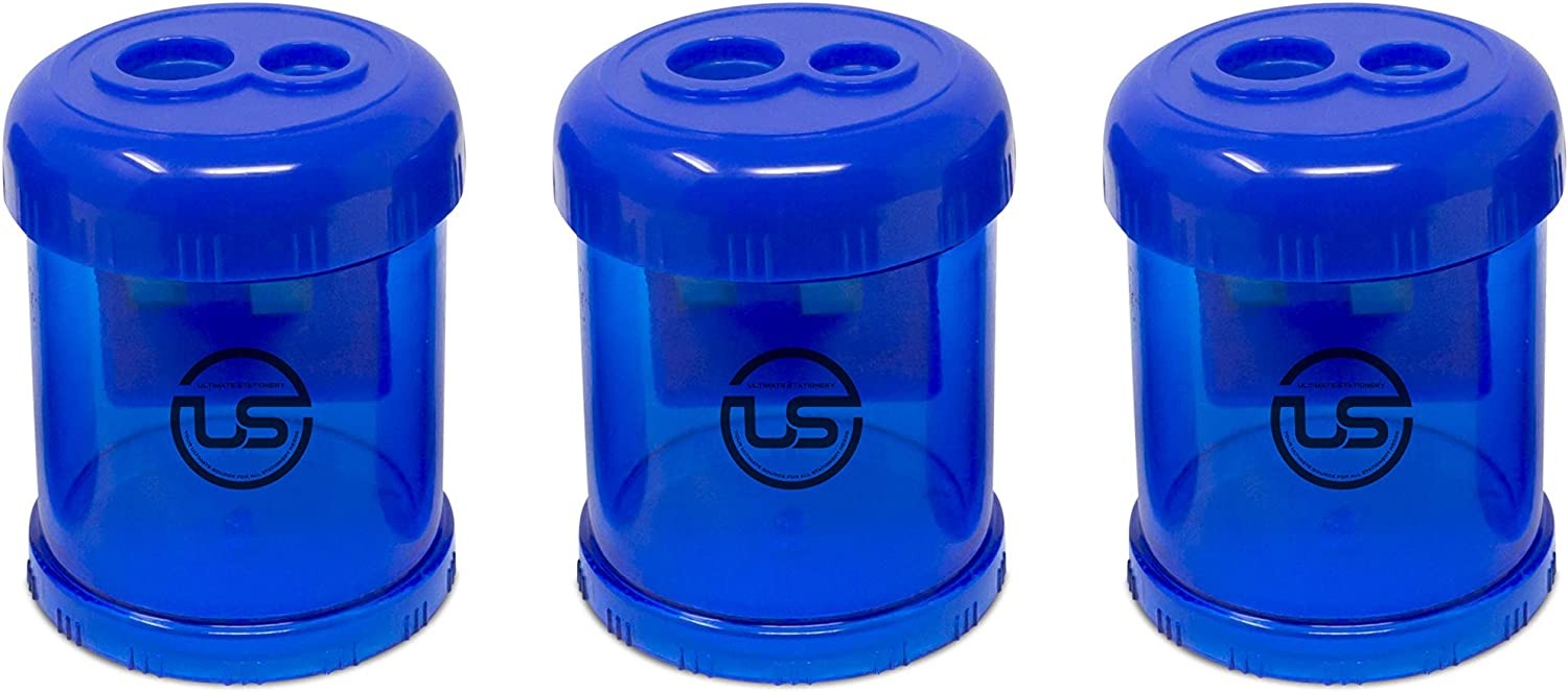 Pencil Sharpener, 3 Pack Blue Dual Hole Sharpener with Receptacle Manual Pencil Sharpeners for Regular and Oversized Pencils or Crayons