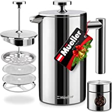 Mueller French Press Double Insulated 310 Stainless Steel Coffee Maker 4 Level Filtration System, No Coffee Grounds, Rust-...