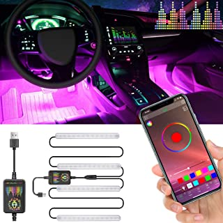 ATDIAG Car Led Lights Interior, Led Strip Lights for Car Upgrade Two-Line Design Waterproof 4pcs 48 LED for Smart Phone APP Controlle/DIY Color Music/Microphone Control