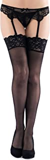 Lovehoney Lingerie Black Sheer Nylon Thigh High Stockings with Deep Floral Lace Top - One Size (8-16)