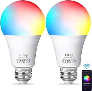 Lampadina Alexa WiFi E27,Fitop Lampadine Smart LED 10W 1000LM 90W Equivalente,Dimmerabile RGBCW Colore Cambiano Lampadina ...
