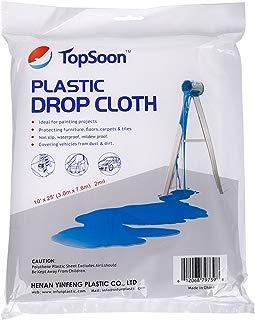 TopSoon Heavy Duty Paint Plastic Drop Cloth Clear Plastic Tarp Waterproof Larger Size 10-Feet by 25-Feet All Purpose