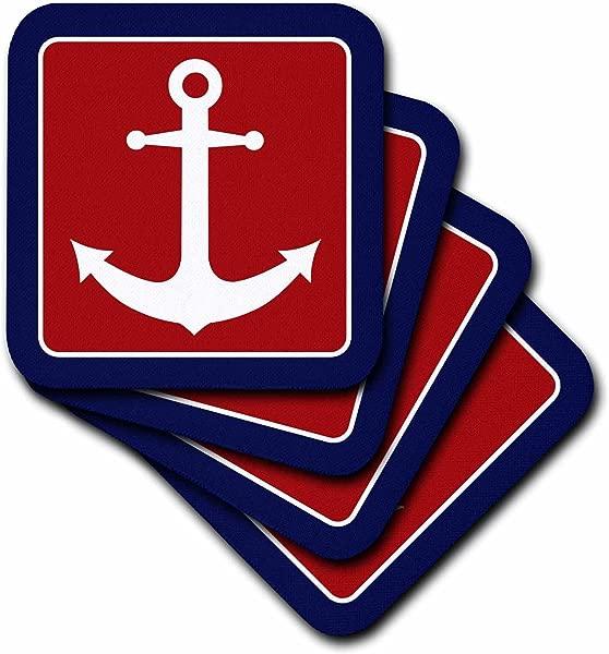 3dRose Cst 165796 3 红白蓝航海锚设计瓷砖杯垫 4 件套