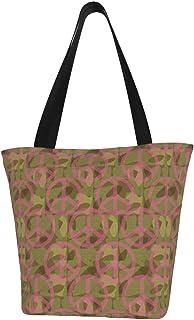 Quintion Cooper Damen-Handtasche aus Segeltuch, mit Reißverschluss, Camouflage-Motiv, Grün