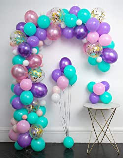 Unicorn Balloons Arch 114pcs & Garland Kit (Gold Confetti .Pearlescent Pink Purple.Light Purple.Mint Green.White.)Tying Tools+Decorating Strip+Gule Dots+Flower Clips+Ribbon Baby Shower Unicorn Party