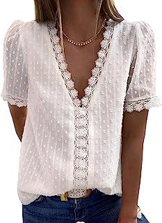 Women's V Neck Lace Crochet Tunic Tops Flowy Casual...