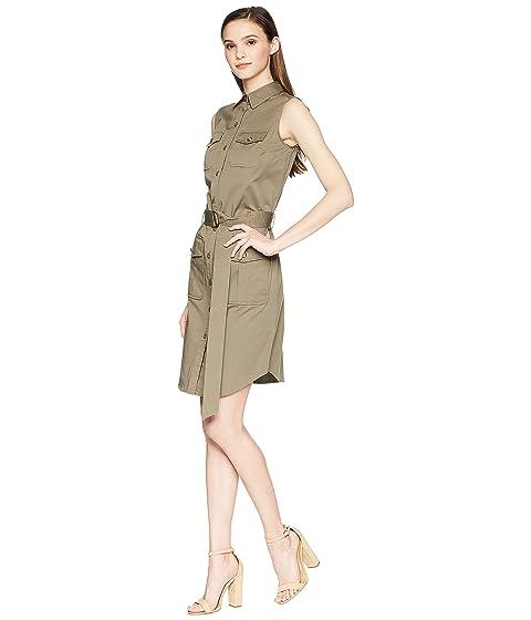 Moss Lauren utilitario Ralph elástico de vestido Sage de algodón sarga LAUREN RwUvHnqAn