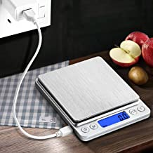 CHWARES Báscula de Cocina Digital con Carga USB, báscula Digital de 0.1g/3 kg, Báscula electrónica Fina, función PSC/Tara,Báscula Digital para Cocina con Carga USB,Balanza de Alimentos Alta Precisión