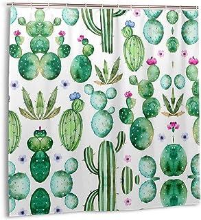 Tropical Cactus Shower Curtain for Bathroom Succulents Plants Bath Curtain Watercolor Mexican Texas Cactus Spikes Succulen...