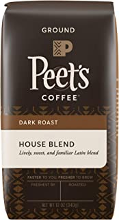 Peet's Coffee House Blend, Dark Roast Ground Coffee, 12 oz