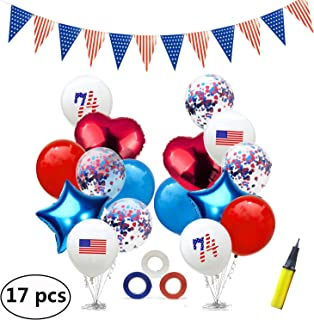 Evealyn 4th of July Patriotic Balloons Banner Decorations Set, Flag Party Decor for Indoor Outdoor Celebration, Wedding, Christmas, Carnival Party, Independence Day Decoration 12&18Inch