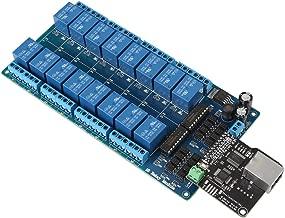 Bewinner Módulo de Control de Ethernet,16 Canales Módulo de Relé, Interfaz RJ45, Tarjeta de Módulo de Relé de Salida de Relé on/Off TCP/IP de Ethernet para Control de Casa Inteligente