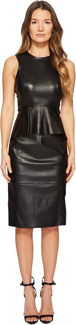 Fitted Peplum Leather Dress