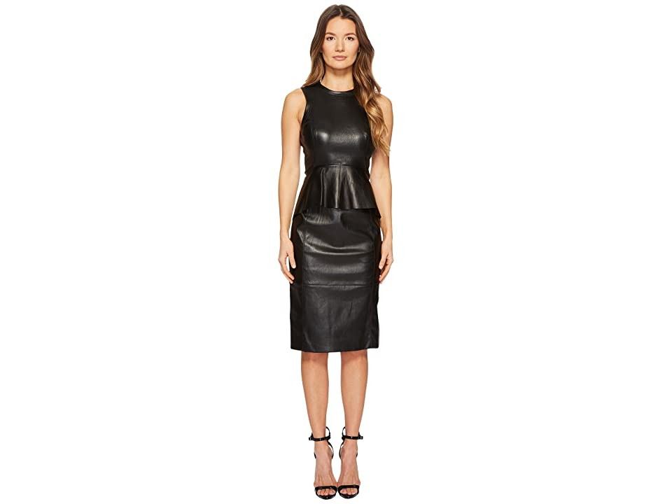 Neil Barrett Fitted Peplum Leather Dress (Black) Women