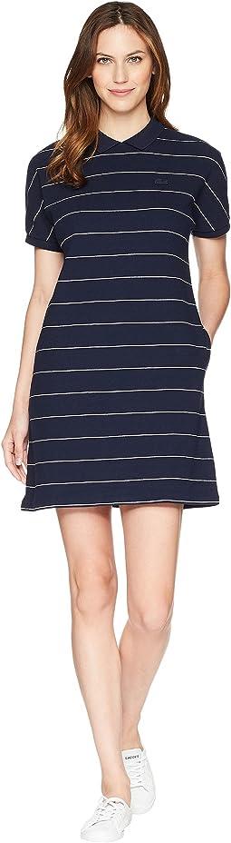 Short Sleeve Mini Waffle Cotton Clear Lines Polo Dress