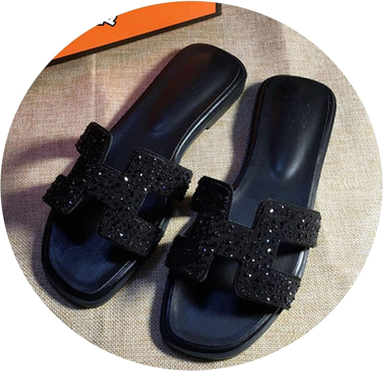 JunXian Flip Flops Crystal Slippers Cut outSummer Beach Sandals Women Slides Outdoor Slippers