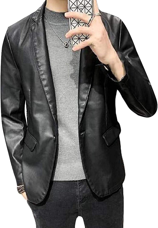 Mens Slim Fit Lapel Faux Leather One Button Blazer Suit Jacket Casual Dress Blazer Jacket Sport Coat