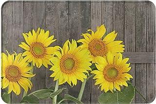 Rustic Woodern Sunflower Front Door Mat Welcome Indoor Outdoor Rug Rubber Non Slip Backing Bathroom Kitchen Decor Area Fun...