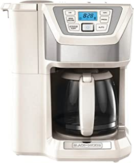 BLACK+DECKER CM5000WD 12-Cup Mill and Brew Coffeemaker, White/Silver