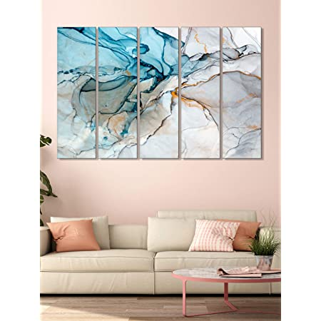 999Store wall painting painting with frame Abstract Blue and white wall art panels hanging painting Set of 5 frames (130 X 76 Cm)