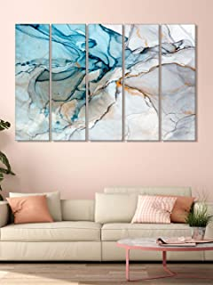 999Store wall painting painting with frame Abstract Blue and white wall art panels hanging painting Set of 5 frames (130 X...