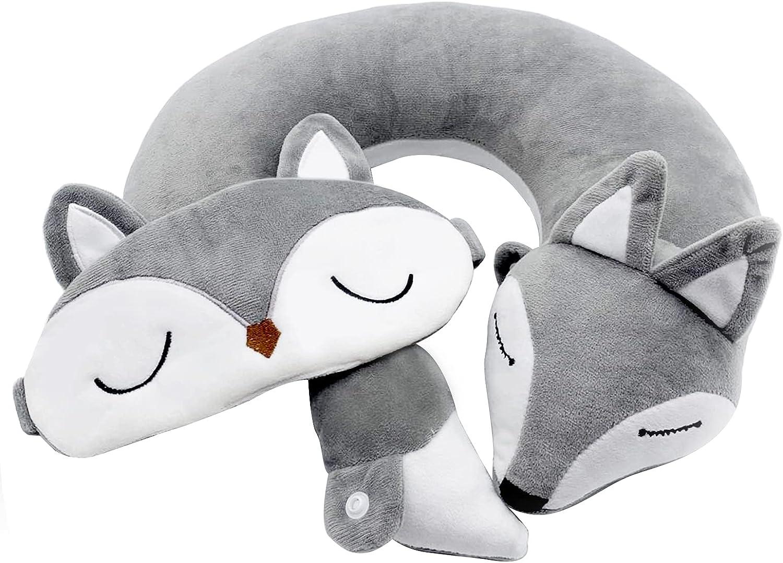 Cute Max 61% OFF Fox Spirit Plush Neck U Japanese Shaped Anim Pillow Travel latest