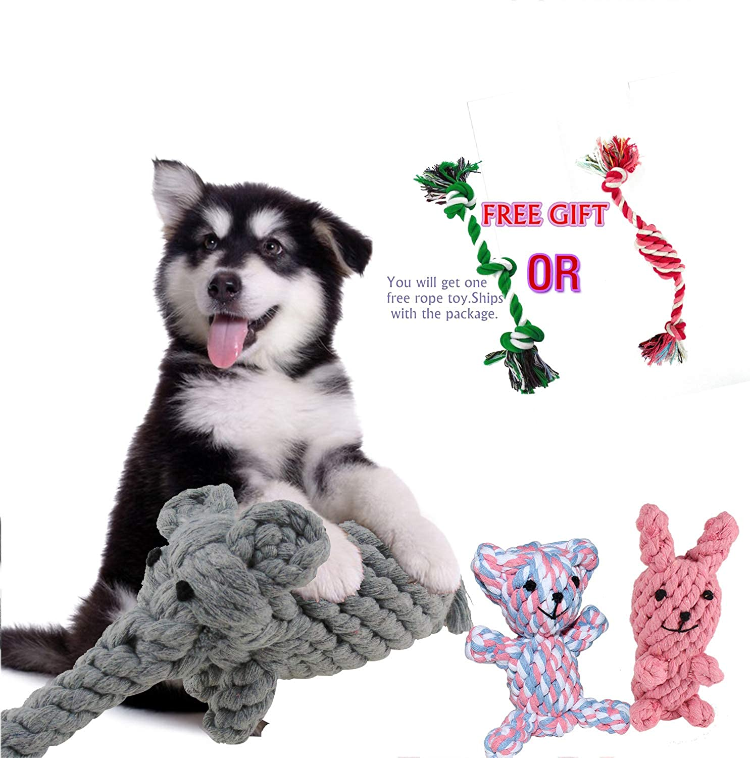 Cenme Dog Rope Toys Cotton Chew Toys Interactive and Chewing Animal Design Cotton Rope Toys for Small Medium Pet Teething,with Puppy Pet Play Chew and Training Toy (Elephant, Bear & Rabbit)