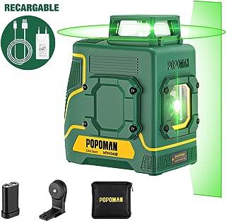 Nivel láser 30m verde POPOMAN, 1x360° línea láser, Carga