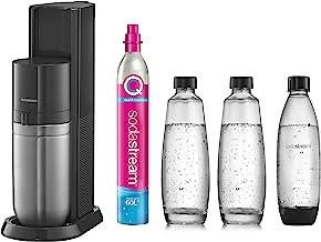 Sodastream Pack Machine à Eau Pétillante et Soda 2 en 1 Duo, Couleur : Noire, Avec 2 carafes en Verre Duo 1 L, 1 bouteille...