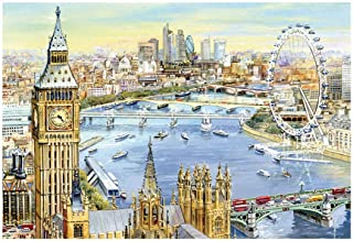 Fine Art Puzzle 1000 Piece for Adult Cardboard Jigsaw Busy River Thames London, Puzzles Creative Toys for Kids Adults Playing Home