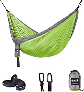 Hammock by Better Outdoor Supply –Durable - Lightweight Complete Kit - Used for- Relaxing Indoor or Outdoor - Camp -Travel-Hike X-L/Double (Extra-Space for 1 or Suitable for Two Adults)| Gray Green