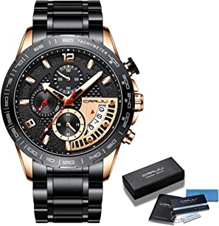 CRRJU Men's Watches Luxury Stainless Steel Band and Casual Waterproof Sport Quartz Watch for Men, Unique Auto Date Militry Mens Watches