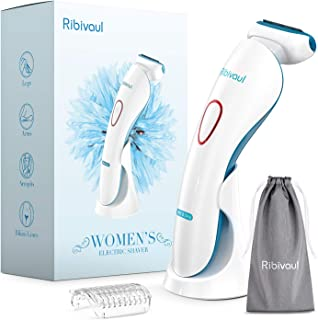 Women Electric Razor, Ribivaul Electric Shaver with 3-in-1 Shaving Blade and 3D Floating foil, Rechargeable Womens Razors ...