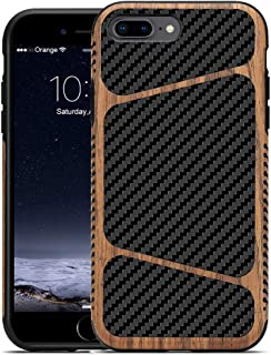 LCHULLE for iPhone 8 Plus Case iPhone 7 Plus Wood Case Carbon Fiber with Wood Grain Hybrid Ultra Thin Lightweight Slim Case Soft TPU Silicone Shockproof Protective Back Case for iPhone 7 Plus/8 Plus