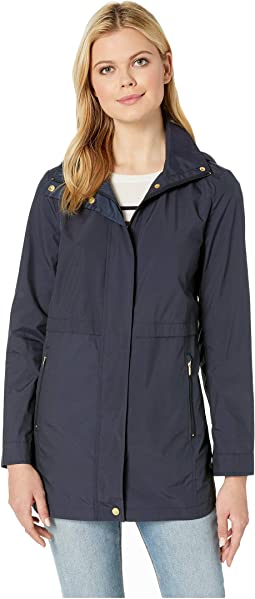 Travel Packable Zip Front Rain Jacket with Detachable Hood