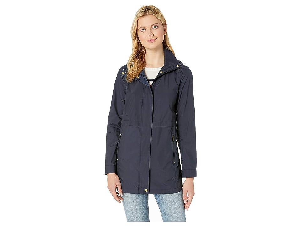 Cole Haan Travel Packable Zip Front Rain Jacket with Detachable Hood (Indigo) Women