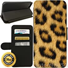 Flip Wallet Case for iPhone 8 Plus (Leopard Fur) with Adjustable Stand and 3 Card Holders | Shock Protection | Lightweight | Includes Free Stylus Pen by Innosub