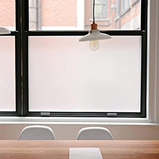 Privacy Window Films, Opaque Frosted Glass Tint Static Cling Treatment Protects Home Security Without Blocking Daylight - Heat Control, UV Prevention, Easy Removal (Matte White, 17.7x78.7 Inches)