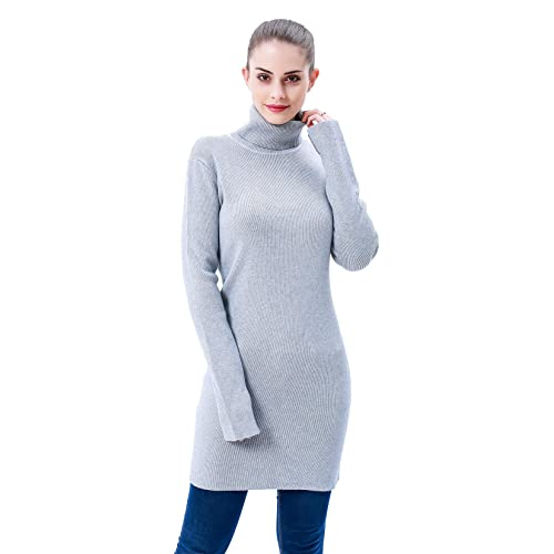 fb61d5b873d5e MEEFUR Winter Long Sleeves Sweater Dress Soft Pullover Stretchy Tunic Ribbed  Turtleneck Round Neck Tops