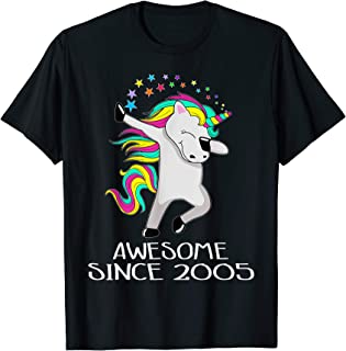 Kid 14 Yrs Old 14th Birthday Unicorn Shirt Gift 2005 Dabbing