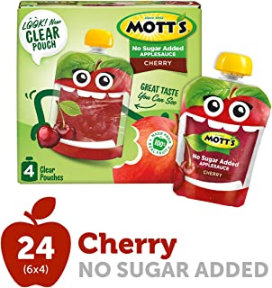 Mott's No Sugar Added Cherry Applesauce, 3.2 Ounce (Pack of 24) Clear Pouch, Perfect for on-the-go, No Added Sugars or Sweeteners, Gluten Free and Vegan