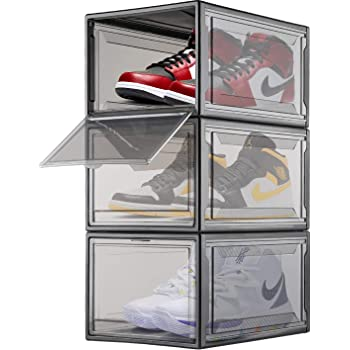 Easy Access Storage Shoes box 2pack Stackable Shoe Storage with clear plastic door for sneakers Voice Control SupBro Led Collection Crate