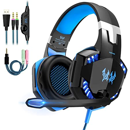 OCDAY Cuffie Gaming PS4 Cuffie PS5 con Microfono Headset Auricolare Gioco con 3.5mm Jack e LED Bass Stereo Noise Cancelling per Playstation 4, Nintendo Switch, Xbox One X, PC,Laptop Tablet