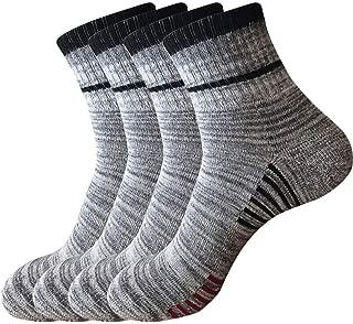 Pelisy 4 Pairs Hiking Socks Mens Pack Cushioned Quarter Crew Athletic Socks