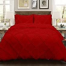5 Piece Diamond Ruffle Duvet Cover with Zipper & Corner Ties 500% Egyptian Cotton Premium Hotel Class Decorative Bedding (Single, Blood Red)