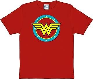 Logoshirt DC Comics - Superhéroe - Wonder Woman - Logo Circulo - Camiseta para niña - Rojo - Diseño Original con Licencia