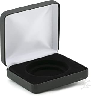 (1) Black Leatherette Coin Display Box Presentation Case for a Single Air-Tite Brand Coin Holder Capsules (Model